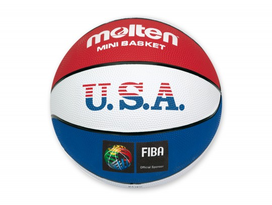 All-In Sport: Blauw/rood/wit gekleurde basketbal met stroef oppervlak. Ideaal voor kinderen.