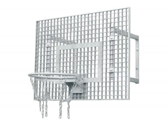 All-In Sport: Geluidsarm roosterbord 90 x 120 cm, verzinkte robuuste ring en versterkt kettingnet met 8-punts ophanging. Wandafstand 60 cm.