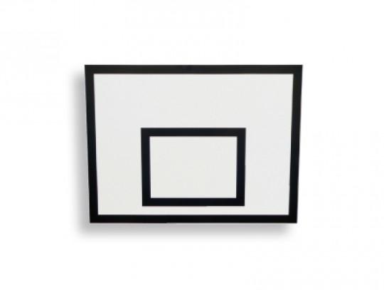 All-In Sport: Basketbalbord van gecoate houten platen. Te gebruiken in de hal, wit gelakt met zwarte markeringslijnen. Bij losse verzending (vervanging...
