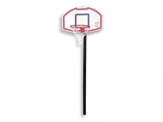 All-In Sport: Installatie met verrassende prijs-/kwaliteitsverhouding. 1-delig kunststof bord, direct aan de paal aangebracht. Incl. ring en net, trapl...