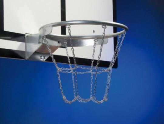 All-In Sport: met 12-punts-bevestiging, van zwaar ketting, verzinkt, geschikt voor alle standaard basketbalringen.