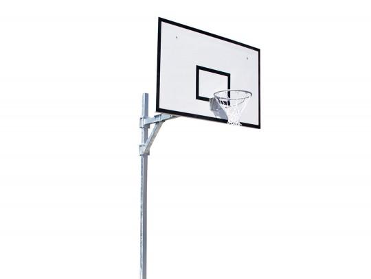 All-In Sport: mast 90 x 90 mm, verzinkt staal, compleet met GVK-bord 120 x 180 cm, ring en net volgens voorschrift. Overhang 165 cm. Te plaatsen in bod...