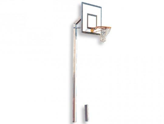 All-In Sport: Mast van verzinkt staal 80 x 80 mm, overhang 60 cm, met GVK-bord 120 x 90 cm, ring en net volgens voorschrift. Te plaatsen in een bodemhu...
