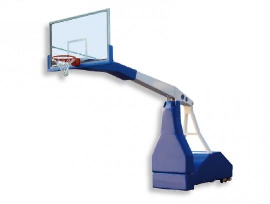 All-In Sport: Verrolbare basketbaltoren CLUB. Gelakte staalconstructie met overhang 225 cm. De installatie beschikt over een hydraulische eenheid met m...