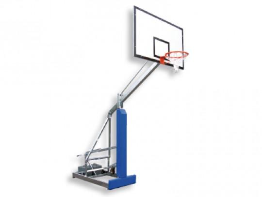 All-In Sport: Verrolbare basketbaltoren COLLEGE. Gelakte staalconstructie met een korte overhang van 125 cm. Verrolbaar door 3 geïntegreerde rubber wie...
