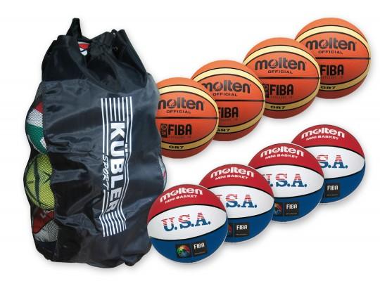All-In Sport: <p>Bestaande uit:</p> <ul> <li>4 x B9915 basketbal molten BGR7,</li> <li>4 x B1447 basketbal molten BC7R-USA</li> <li>1 x ballenzak.<...
