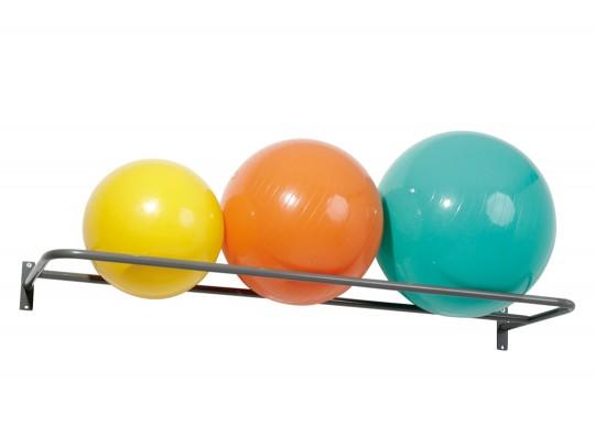 All-In Sport: Voor grote gymnastiekballen van gebogen staal, epoxy gelakt. Afm. 165 cm breed, 54 cm diep. Geschikt voor 3 ballen met 53 cm, 65 cm Ø of ...