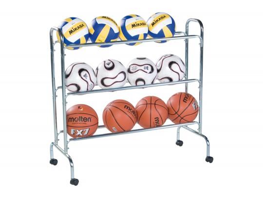 All-In Sport: Staalconstructie, verchroomd met wielen voor ca. 12 sportballen, afm. 101 x 23 x 100 cm, breed onder 43 cm.
