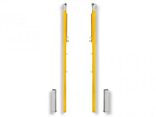 All-In Sport: Stahlrohr 40 x 40 mm, stufenlose Verstellung von 160 - 202 cm, mit Leinenführungsrolle und Befestigungsöse für Faustballband, einschl. Bo...