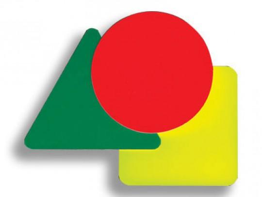 All-In Sport: Aus Polystyrol. Internationaler Satz bestehend aus: 1 rote Karte (rund), 1 gelbe Karte (quadratisch), 1 grüne Karte (dreieckig).
