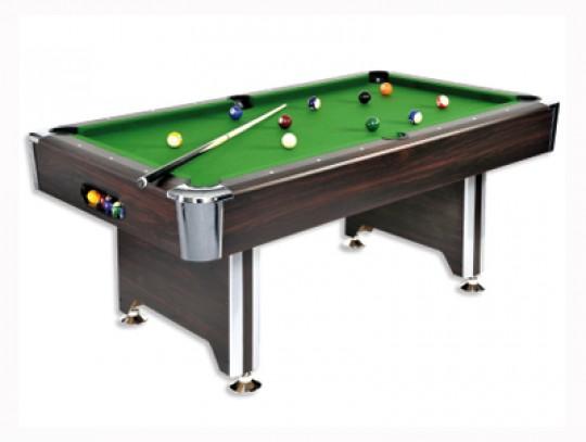 All-In Sport: De biljarttafel SEDONA in Mahonie-decor met edele chromen hoeken combineert een hoge kwaliteit en stabiliteit, voor een bijzonder gunstig...