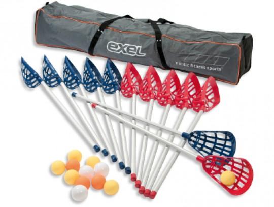 All-In Sport: De set bestaat uit: - 6 sticks in rood - 6 sticks in blauw - 12 ballen - 1 transporttas