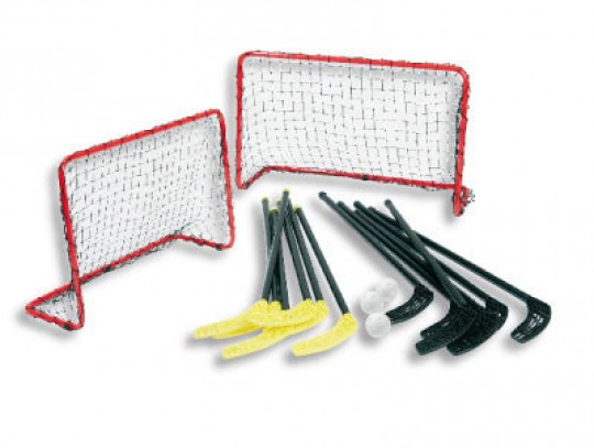 All-In Sport: Stickset ABS-Senior D2241 (6 + 6 sticks en 3 gatenballen), 2 mini Floorballdoelen 90 x 60 cm, incl. net.