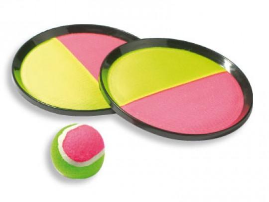 """All-In Sport: Het populaire werp- en vangspel. 2 """"rackets"""" met klittenband en 1 bal. Ook geschikt voor in het water."""