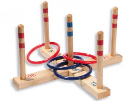 All-In Sport: Populair behendigheidsspel voor groot en klein. Bestaande uit een 2-delig houten kruis met 5 verschillende getallen en 5 opschroefbare bo...