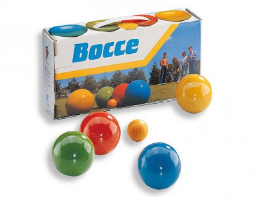 All-In Sport: Met 8 ballen 80 mm Ø, in 4 kleuren gelakt, met but, verpakt in een doos.