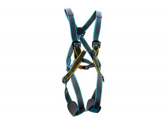 All-In Sport: Mit zentraler Einbindeschlaufe für Kinder bis 140 cm sehr gut geeignet. Beinschlaufen verstellbar. Max. Nutzergewicht: 40 kg.