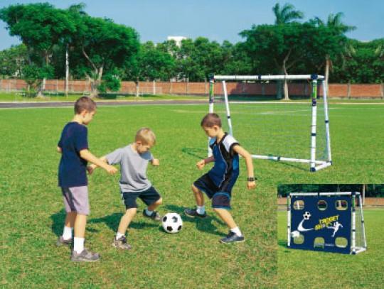 All-In Sport: Het doel 180 x 150 cm kan voor doelschiettraining ook van een doelwanddoek voorzien worden. Kunststof profielen met 68 resp. 53 mm Ø geve...