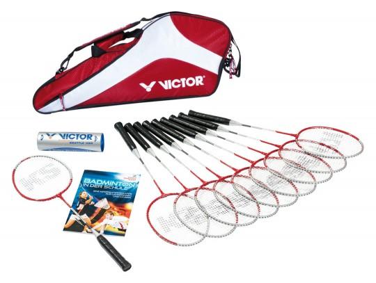 All-In Sport: <p>Inhoud:</p> <ul> <li>10 badmintonrackets SCHOOL D9700</li> <li>2 kokers badmintonshuttles VICTOR 1000 medium D9713</li> <li>1 rack...