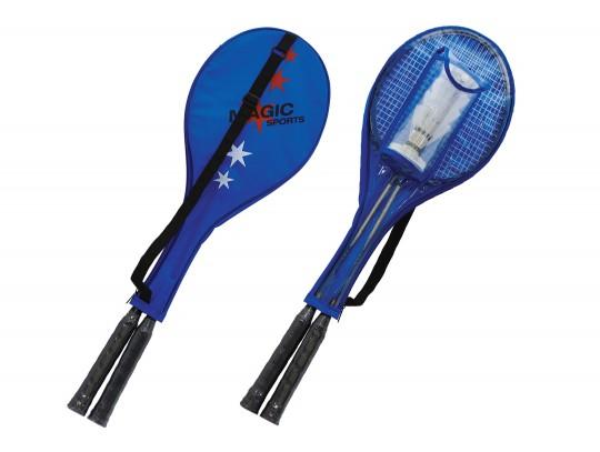 All-In Sport: Badmintonpret in de tuin, op het strand of in het park. De set bestaat uit 2 gehard stalen rackets en 2 nylon shuttles in een transporttas.