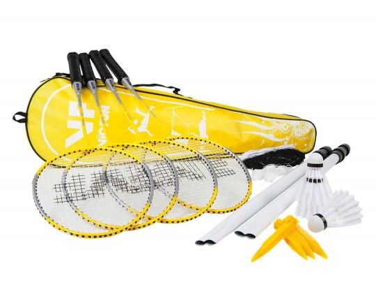 All-In Sport: Voor max. 4 spelers. Ideaal voor in de tuin of op het strand. De set bestaat uit 4 gehard stalen rackets, 3 nylon shuttles met kurken dop...