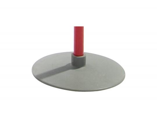 All-In Sport: Gewicht ca. 700 gram, stavlak ca. Ø 23 cm, hoogte 5 cm. Geschikt voor stokdoorsnede 25 mm. Rubber speciaal ook voor sporthalvloeren.