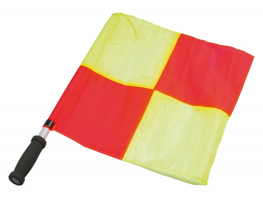 All-In Sport: Van fluoriserend stof rood/geel geruit, met kunststof stok en greep, ca. 40 x 40 cm.