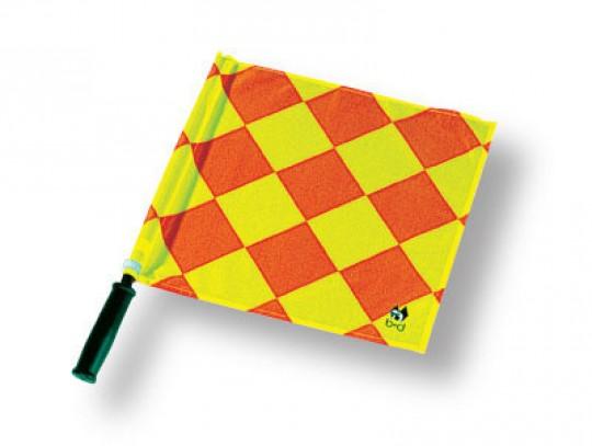 All-In Sport: Van fluoriserend stof rood/geel geruit, ca. 37 x 39 cm, PVC stok met kunststof grip.