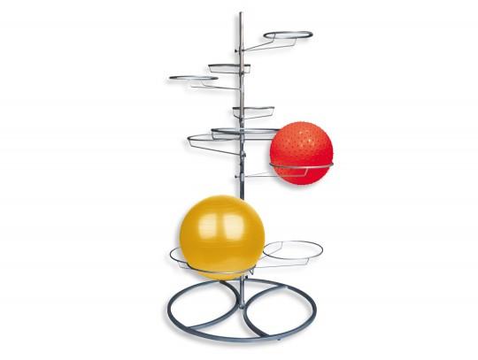 All-In Sport: Het optimale opbergsysteem voor gymnastiekballen tot een doorsnede van 95 cm. De 10 balringen zijn verstelbaar en onderverdeeld in 5 ring...