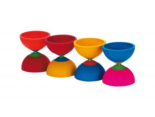 All-In Sport: Kunststof Diabolo, Ø 11,5 cm, ca. 180 gram. In fel meerkleurig design, kleuren assorti.