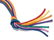 All-In Sport: Van 100% polypropyleen, 300 cm lang, gevlochten, 9 mm evenredig dik, in frisse kleuren.