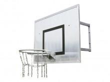 All-In Sport: Bord van aluminium 90 x 120 cm, verzinkte robuuste ring en een versterkt kettingnet met 8-punts ophanging, wandafstand 60 cm.