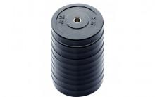 All-In Sport: <p>10-pack 25 kg Ol. Bumper Plates zwart</p> <p></p> <p>Olymische Bumper plates vervaardigd uit massief rubber. Hierdoor zi...