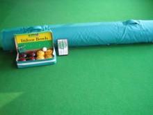 All-In Sport: <h4>Deze Koersbalset I bestaat uit:</h4> <ul> <li>koersbalmat 8 x 2 meter in hoes</li> <li>doos met 4 gele en 4 zwarte koersballen in ...