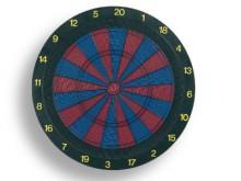 All-In Sport: Standaard uitvoering met 2 cirkels voor double-/triplesegmenten, Ø 45 cm, ca. 2 cm dik, kleur blauw/rood, compleet met 6 darts.