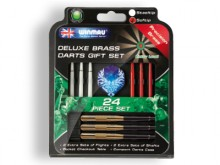 All-In Sport: Praktische softdarts-set bestaande uit 3 messing barrels (18 gram) met een optimale grip, 3 sets nylon-shafts en 2 sets fantasy-flights. ...