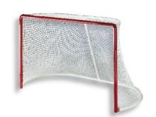 All-In Sport: Doelnet, wit, van polyester, ca 4 mm dik, maaswijdte 35 mm, 193 cm breed, 122 cm hoog, diepte boven 50 cm, diepte onder 100 cm, met extra...