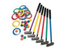 All-In Sport: De set bestaat uit 6 kunststof clubs 60 cm lang met schuimstof grips, 18 foamballen in 6 verschillende kleuren en 18 doelringen, geschikt...