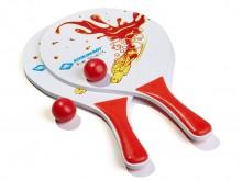 All-In Sport: Populair recreatiespel voor tuin, strand en zwembad, met 2 houten rackets met zomers motief en 1 bal.