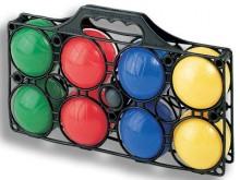 All-In Sport: 8 gevulde kunststof ballen, 7 cm Ø en but in een praktische draagtas.