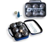All-In Sport: Traditionele Jeu de Boules set met 6 metalen ballen Ø 7,25 cm, een butje van hout en een afstandmeter. Petanque set compleet in een prakt...