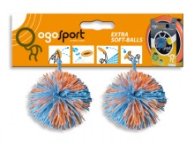 All-In Sport: 2 Ogo Sport ballen, los (Wuschelball/Koosh Ball), die niet wegrollen, als ze op de grond vallen. Afm. Ø 6,5 cm, 2 stuks aan een karntonne...