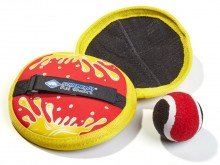 """All-In Sport: 2 klittenbal """"rackets""""  van Neopreen (Ø 17 cm) met verstelbare handlussen en duurzame, vastgenaaide klittenbandvlakken en 1 klittenbal (Ø..."""