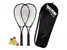 All-In Sport: Snel racketspel in weer en wind. De set bestaat uit 2 robuuste aluminium rackets, 3 nylon shuttles met rubber dop voor aangename vluchtei...