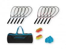 All-In Sport: Set bestaande uit: 10 Speedminton SCHOOL rackets (5x rood, 5x blauw), 10 Match Speeders, 10 Fun Speeders, 10 Heli Speeders, 40 kegels, 1 ...