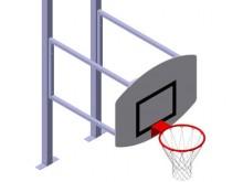 All-In Sport: Het basketbal-opzetstuk met overhang 120 cm bestaat uit een zeer stabiel 8 mm aluminium bord 130 x 100 cm, een ring, net en bevestigingsm...