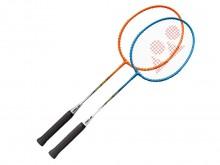 All-In Sport: Uiterst robuust staal/aluminium racket met nylon bussen en duurzame synthetische snaren. Compleet met bladhoes.
