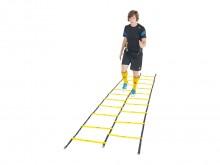 All-In Sport: 10 x 2 breukvaste kunststof sporten. Afstanden variabel. Verbonden door slijtvaste banden, compleet met transporttas, 4 meter lang, dubbel.
