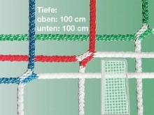 All-In Sport: Polypropyleen 4 mm, slijtvast, knooploos, in clubkleuren. Diepte: boven en onder 100 cm.