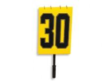 All-In Sport: Weerbestendig, met cijfers 1-30 (ca. 25 cm hoog), gebruiksvriendelijk, geel/zwart.